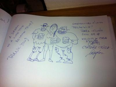 Bejegyzés a pilseni Pilsner Urquell sörgyár vendégkönyvében
